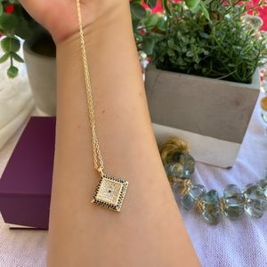 Jewelry - Gold Plated Ecil Eye Cubic Zirconia Necklace